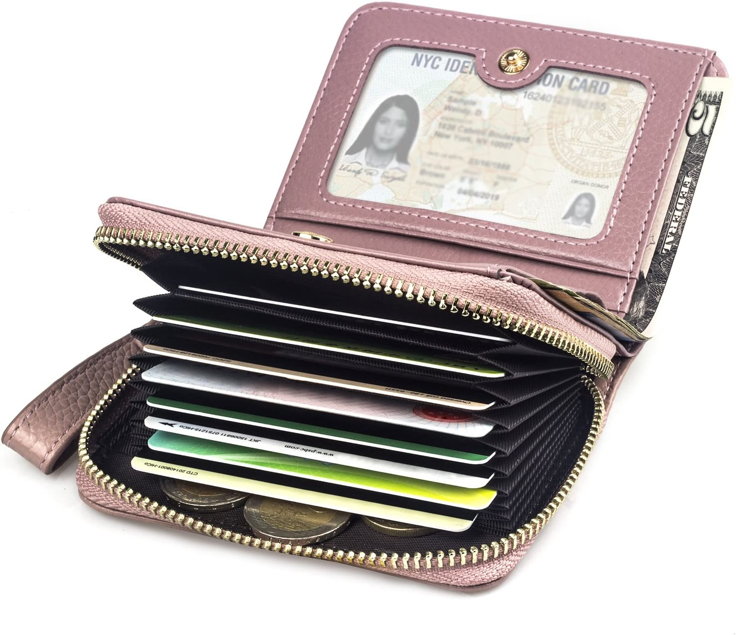 BAGZY Cartera de Mujer de Cuero Genuino Bolso Cremallera Billetera Tarjeta de crédito Titular de la Licencia de Conducir Embrague Viajar Bolso Negocio Estuche de Tarjetas Señoras Chicas Regalo Rosado