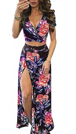 50940ca2d661 WearLove Women's Summer Sexy Two Piece Split Floral Print Maxi Long Beach  Crop Top Skirt Set at Amazon Women's Clothing store: