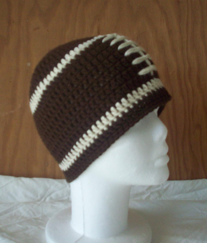 Amazoncom Soft Handmade Crochet Football Hat Beanie Adult Size