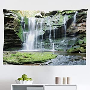 "Lunarable Waterfall Tapestry, Rocky Waterfall to Pond Running Off Scenic Nature Themed Picture Print, Fabric Wall Hanging Decor for Bedroom Living Room Dorm, 45"" X 30"", Green Brown"