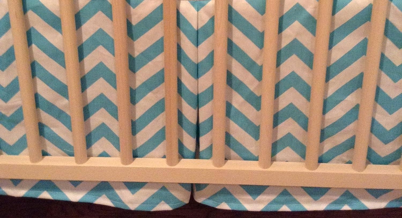 Amazon Com Zig Zag Aqua Chevron Crib Skirt Baby Bedding Gift
