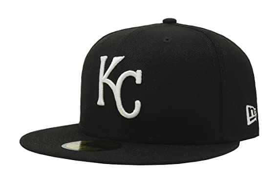 separation shoes 48c24 dd132 New Era 59Fifty Hat MLB Basic Kansas City Royals Black White Fitted  Baseball Cap (