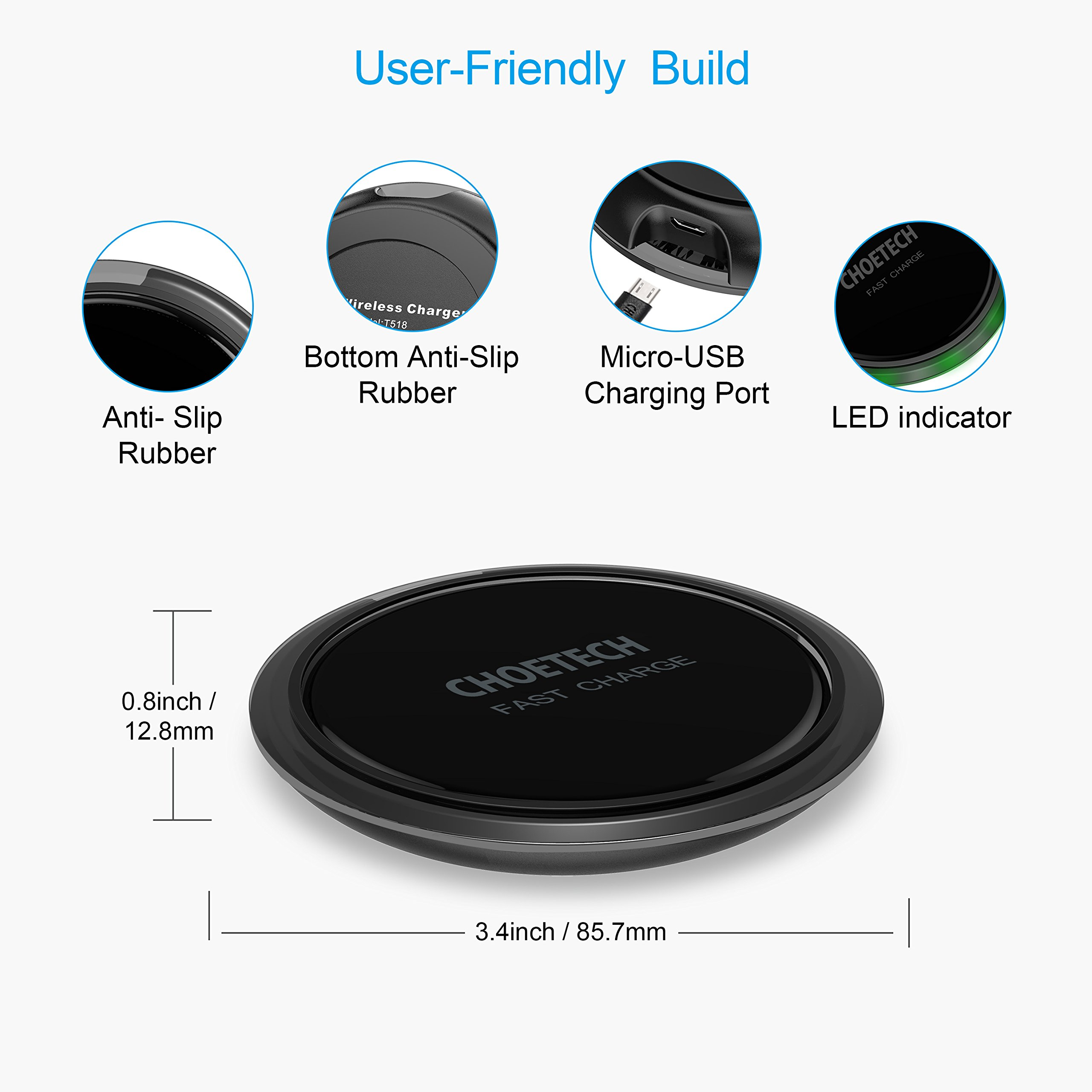 CHOETECH Wireless Charger, 7.5W Qi Fast Wireless Charger Pad Compatible iPhone X/8/8 Plus,10W Fast Charging Compatible Samsung Galaxy S9 S8 S9 Plus Note 8 (QC3.0 AC Adapter Included) by CHOETECH (Image #3)