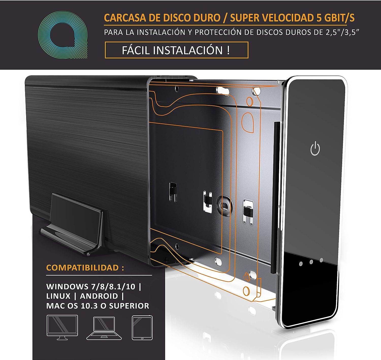 aplic - Carcasa para Discos Duros USB 3.0 de 3,5 Pulgadas Externa ...