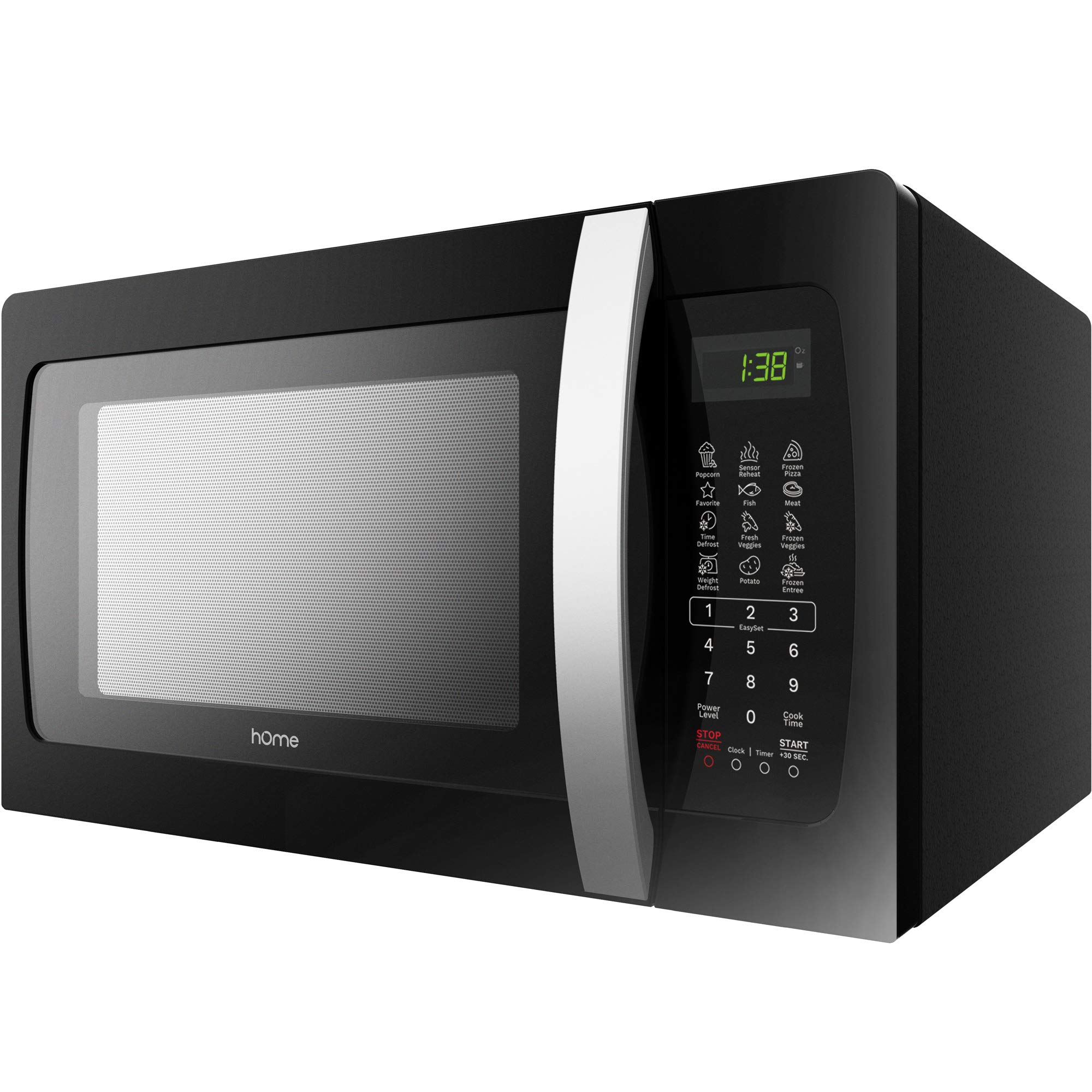hOmeLabs 1050 Watt Countertop Microwave Oven - 1.3 cu ft Microwaves Cooker with Glass Cooking Tray Food Plate Accessory - Popcorn Pizza Maker Microwave Ovens for Counter- Black Stainless Steel Finish