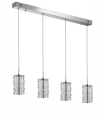 Lámpara de techo cromada cristal acrílico transparente de 4 ...