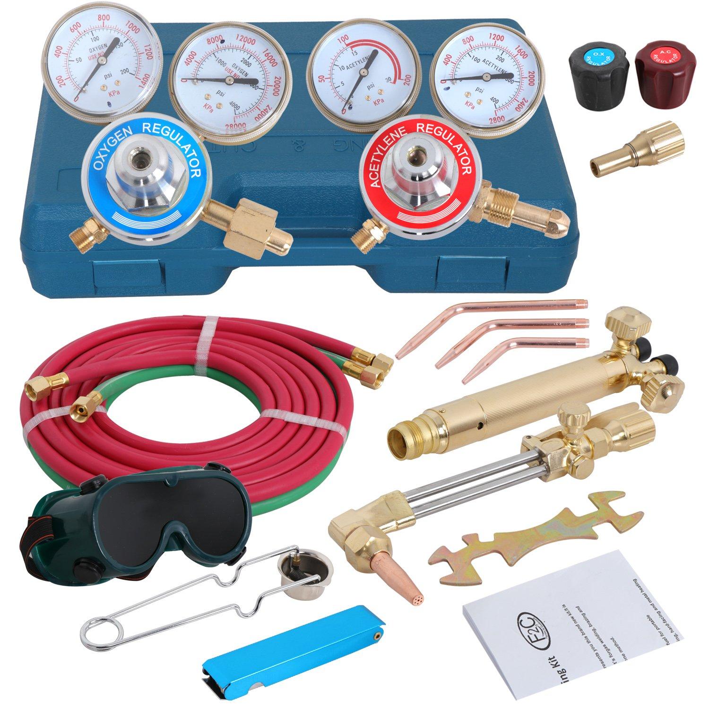 ZENSTYLE Oxygen & Acetylene Welding and Cutting Torch Kit Welder Tool Set w/2 Sets Regulator Gauges, A Storage Case