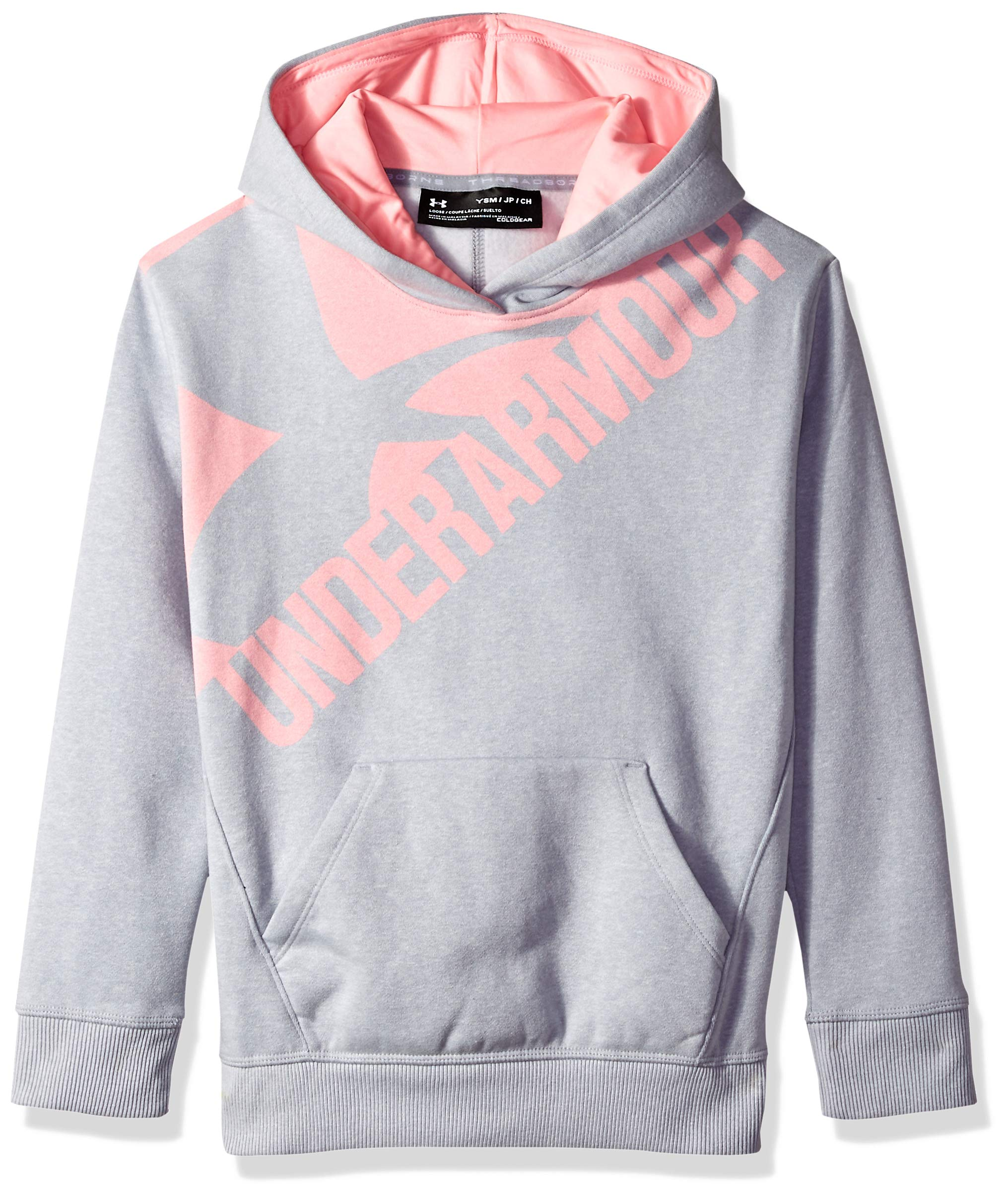 Under Armour Girls Threadborne Novelty Fleece Hoodie,Overcast Gray /Pop Pink, Youth X-Small