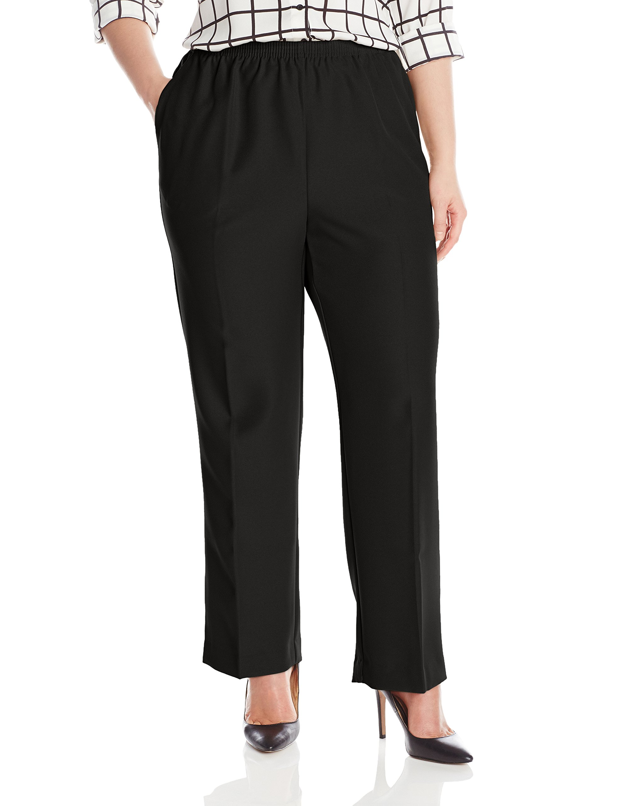 Alfred Dunner Womens Plus Average Pant, Black, 24W