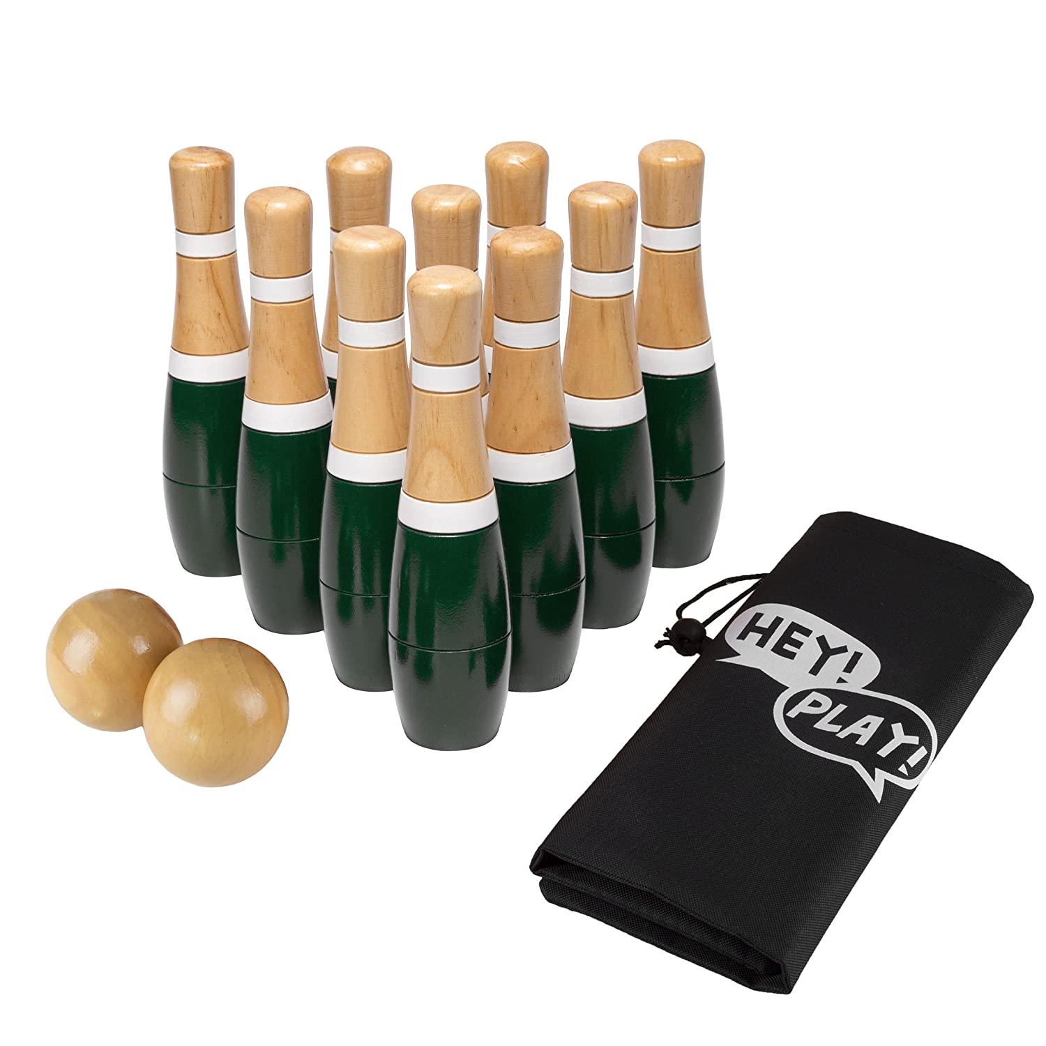 木製Lawn Bowling Set with Ten 8インチピンと2ボール – Includes Bonus Carryingバッグ。 B07BFJ923T グリーン