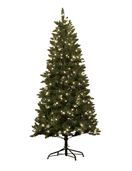 astella 7 pre lit douglas fir hinged artificial christmas tree with 300 count clear