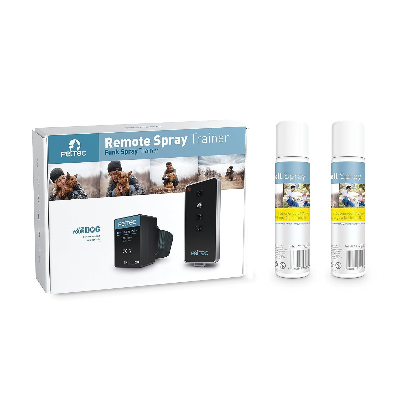 PetTec Remote Spray Trainer, Collier Anti-aboiement avec Spray et Signal sonore + télécommande + Spray inodore x2 + Batteries