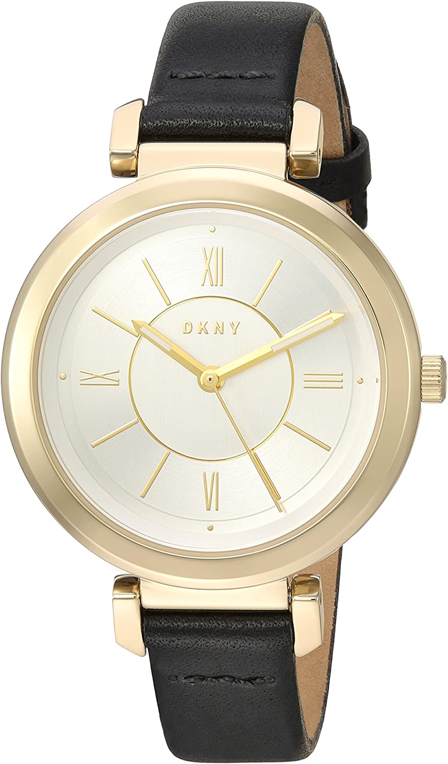 DKNY Women's Ellington Analog-Quartz Watch with Stainless-Steel-Plated Strap, Black, 12 (Model: NY2587)
