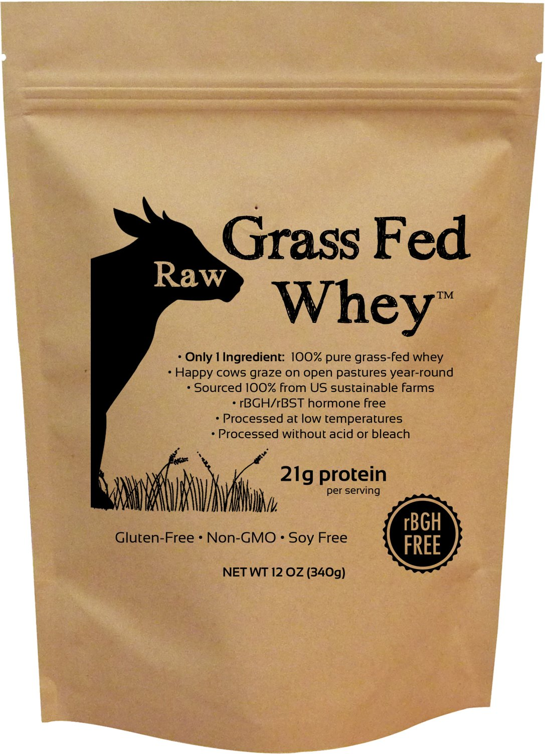 Raw Grass Fed Whey - Happy Healthy Cows, COLD PROCESSED Undenatured 100% Grass Fed Whey Protein Powder, GMO-Free + rBGH Free + Soy Free + Gluten Free + No Added Sugar, Unflavored, Unsweetened (12 OZ) by Raw Organic Whey
