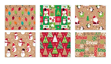 Amazon.com: Christmas Gift Wrapping Paper Multi Pack of 6 Rolls of ...