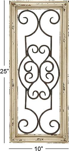 Deco 79 52732 Wood Metal Wall Panel, 25 H x 10 W, 25 x 10, Ivory