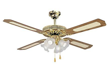 Ventilatore a soffitto lampadario a 4 lampade old america: amazon.it