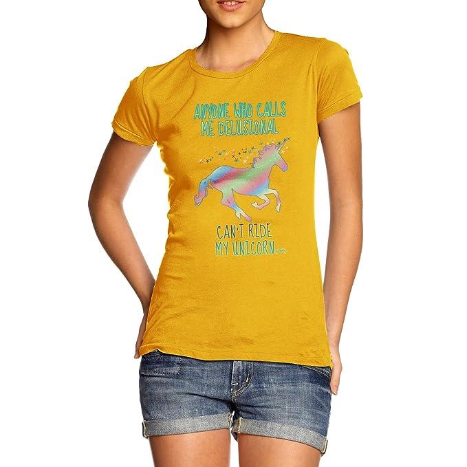 Twisted Envy - Camiseta divertida con unicornio para mujer amarillo amarillo Large: Amazon.es: Ropa y accesorios