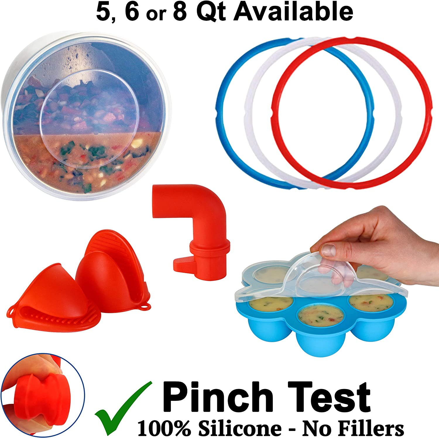 Silicone Accessories For Instant Pot 8 Quart: Silicone Lid, 3 Silicone Sealing Rings, Silicone Egg Bites Mold, Mitts, Steam Diverter - 100% AUTHENTIC SILICONE - BPA-FREE, PHTHALATE-FREE, PVC-FREE