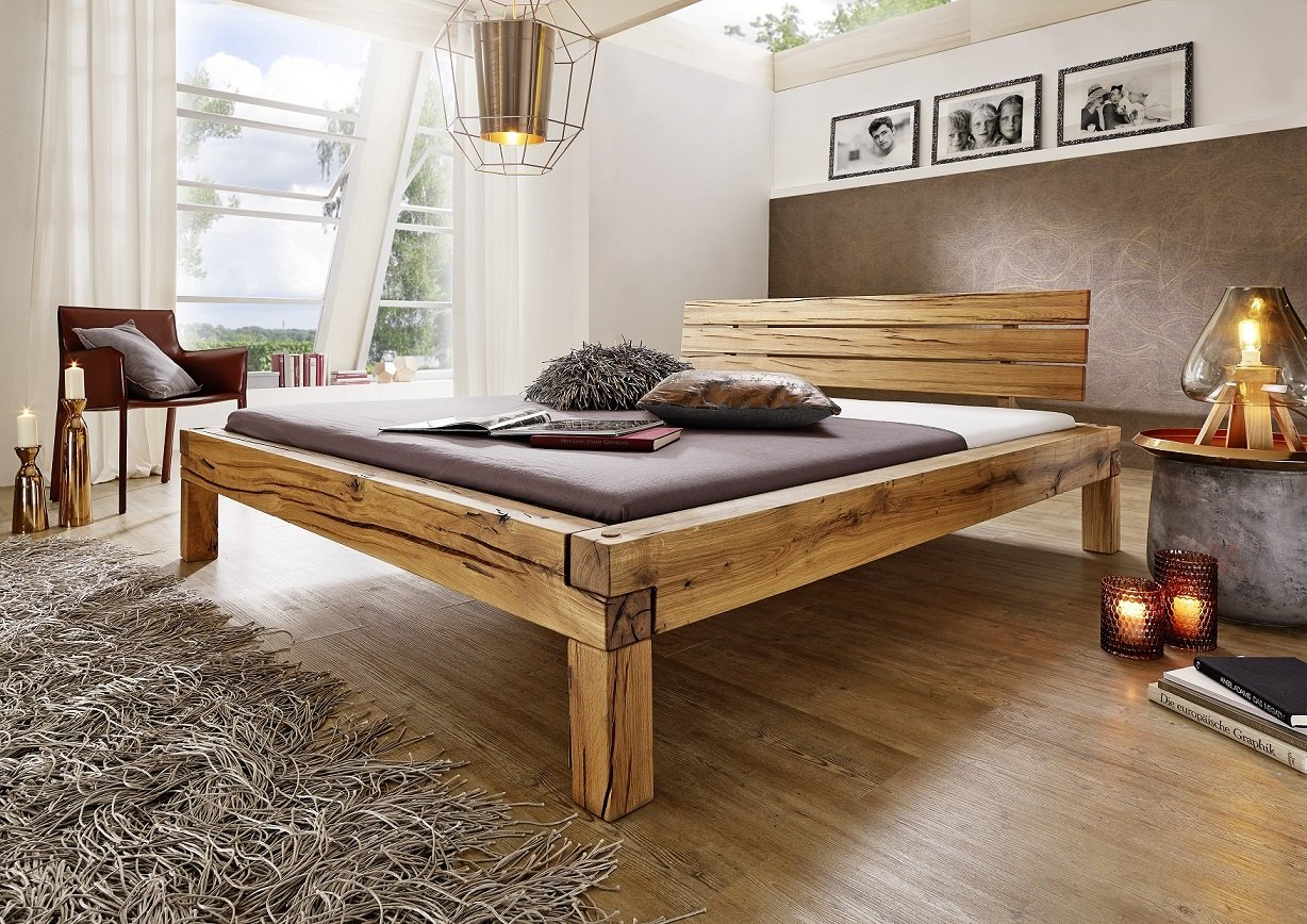 balkenbett bett doppelbett 39 jonas 39 180x200cm wildeiche ge lt holz ge lt kaufen. Black Bedroom Furniture Sets. Home Design Ideas