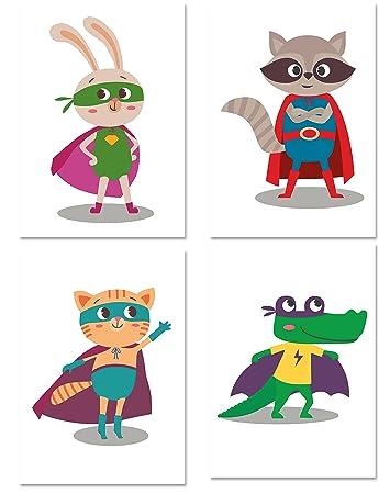 PICSonPAPER Kinder Poster 4er-Set SUPERHELDEN, ungerahmt DIN A4 ...
