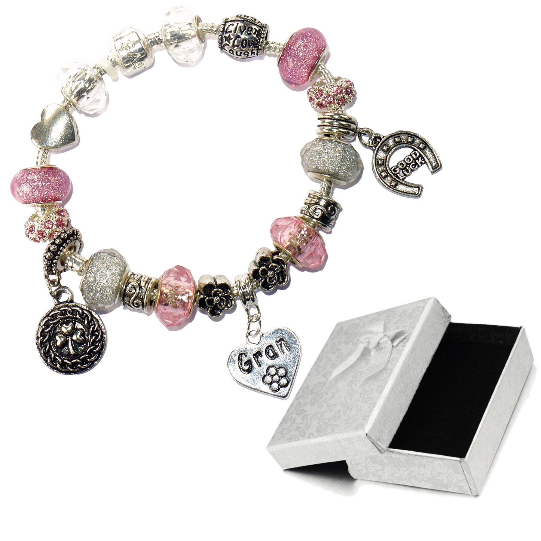 Charm Buddy Gran Pink Silver Crystal Good Luck Pandora Style Bracelet With Charms Gift Box