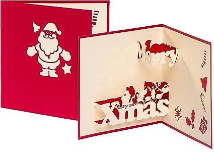 Tarjeta de Navidad Merry Xmas con Papá Noel, tarjeta 3D pop ...