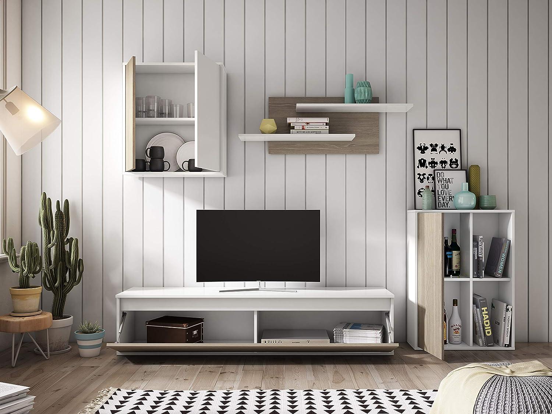 Miroytengo Mueble módulos salón diseño nórdico Estilo escandinavo Color Blanco y Sable 220x180x38 cm