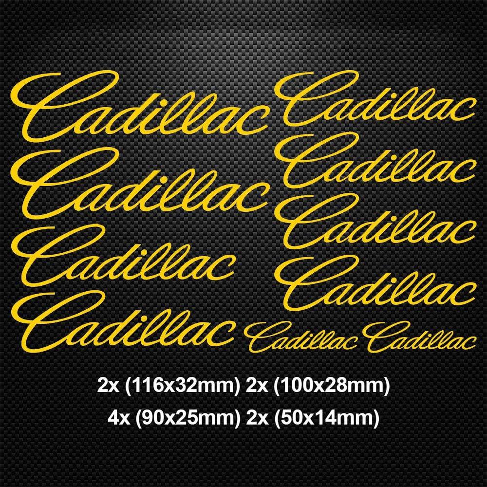 luluda for Cadillac HI-Temp Premium Brake Caliper Decals Stickers CAST Vinyl Yellow