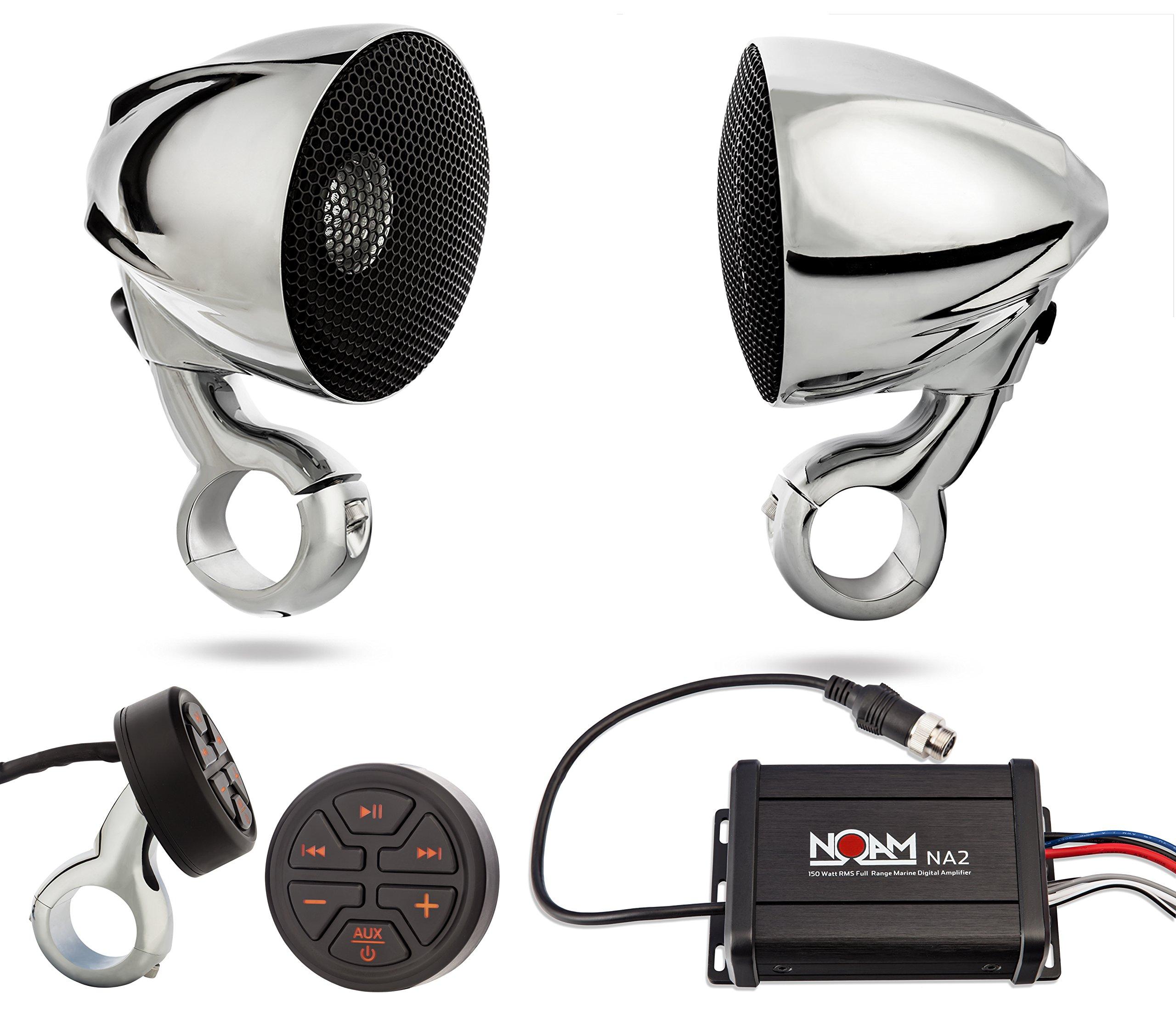 NOAM NMC3 - Waterproof Motorcycle / ATV Chrome Speakers Bluetooth Stereo System