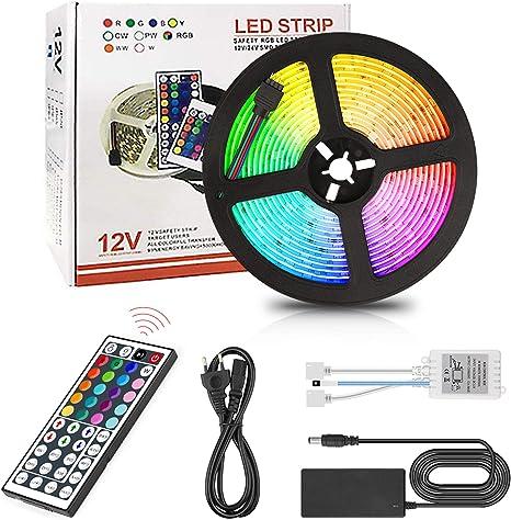 LED Lichtleisten RGB 5050 300 LED 16.4ft und 44 Tasten Fernbedienung mit Stecker