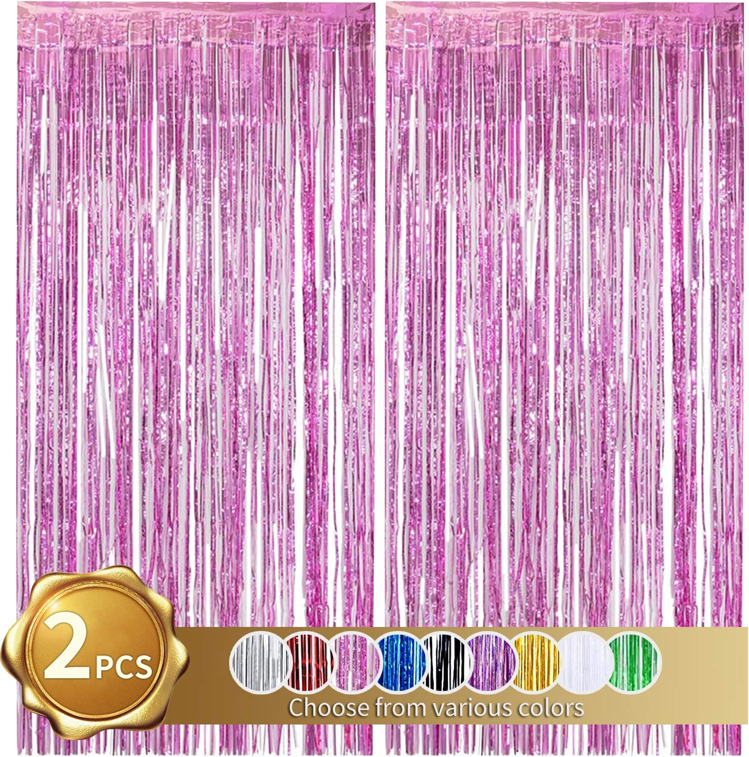 BEISHIDA 2 Pack Foil Fringe Curtain,Pink Tinsel Metallic Curtains Photo Backdrop for Wedding Engagement Bridal Shower Birthday Bachelorette Party Stage Decor(3.28 ft x 6.56 ft)