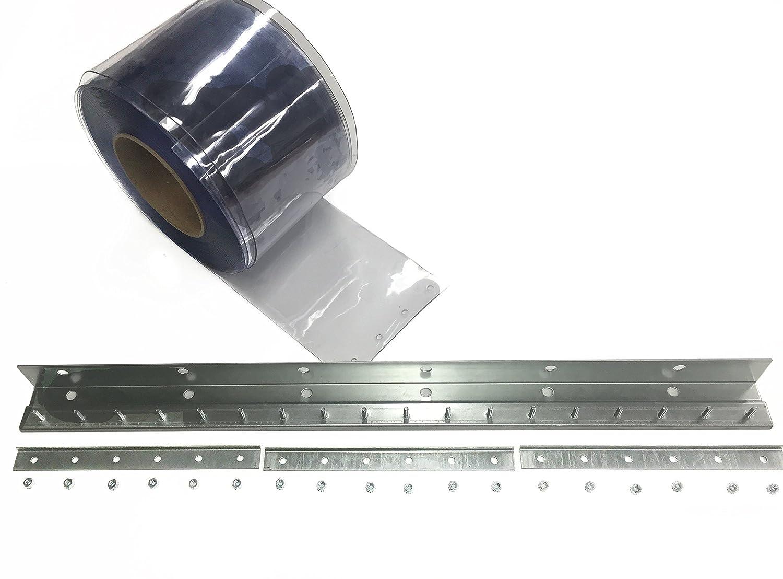 Steel Guard Safety PVC Strip Curtain Door - PVC Strip Door Kit - H- 7' x W- 3' - 8' Strips, 50% Overlap -Steel Guard Safety