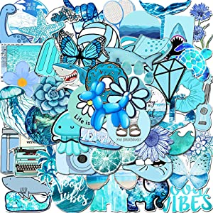 Vinyl Stickers for Teens,53Pcs Waterproof Stickers for HydroFlask Water Bottle Laptop Computer Phone Skateboard MacBook,Decal for Teens and Adults (Blue)
