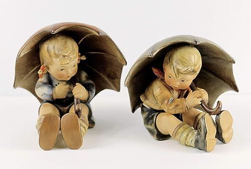 Vintage Hummel Goebel Umbrella Boy and Girl Statues Set of 2