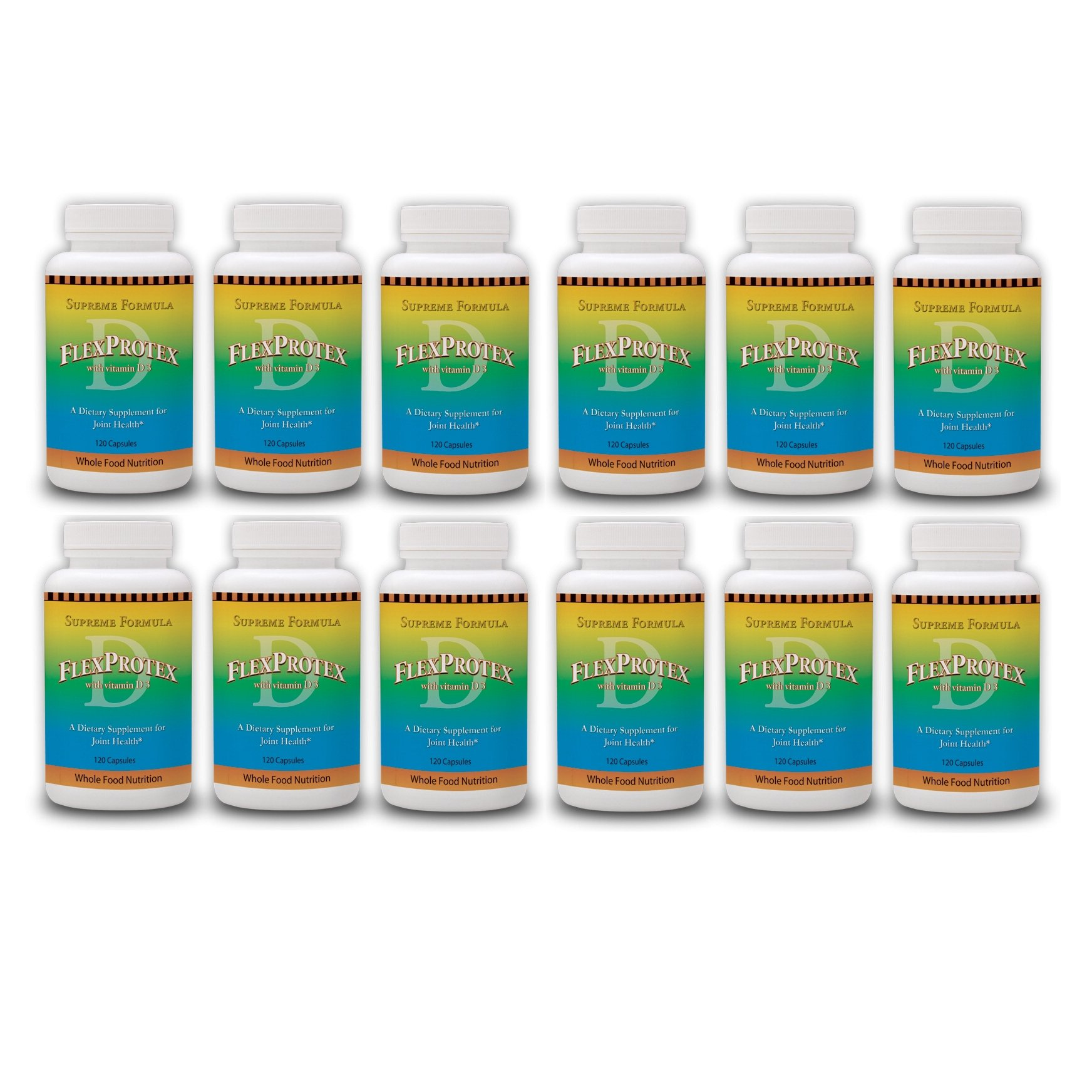 FlexProtex D 884mg Joint Support 12 btls PLUS 1 Silver Foil pack CoralCal Daily Coral Calcium Sachets 6 sachets Flex Protex 120 capsules with Turmeric Chondroitin Glucosamine