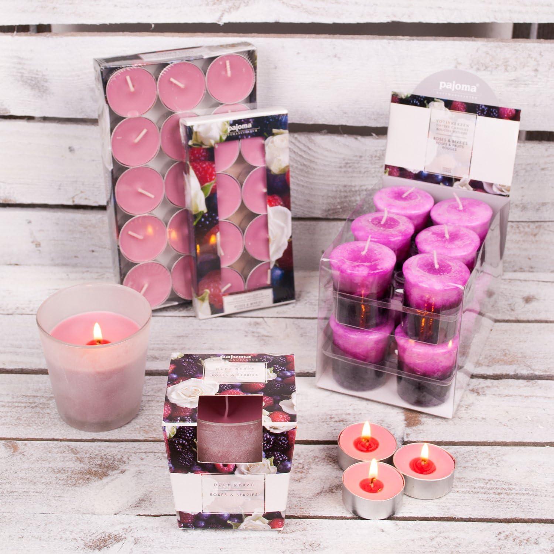 Pajoma 91040 Bougie avec Roses et Baies en Verre satin/é
