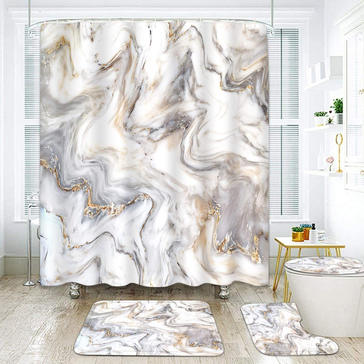 ArtSocket 4 Piece Marble Shower Curtain Sets Natural Marble Texture White Gray Wave Gold Swirl with Non-Slip Rug, Toilet Lid Cover, Bath Mat and 12 Hooks 72x72inch