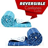 Divine Casa Luxor Abstract 2 Piece Polyester Single Comforter - Air Blue and Sodalite Blue (110 GSM)