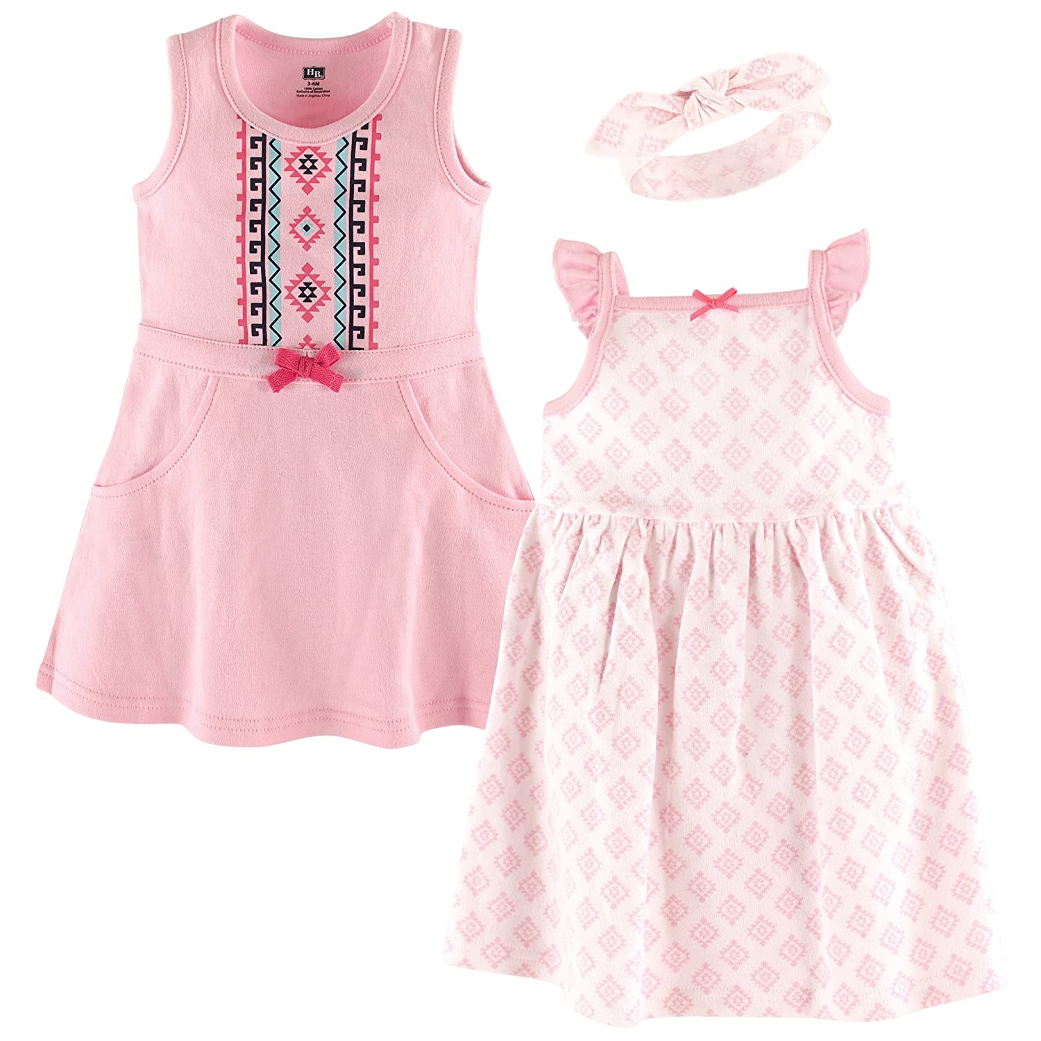 Hudson Baby Girls' 3 Piece Dress and Headband Set,
