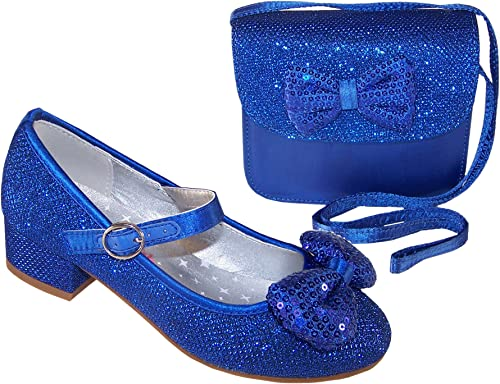 Girls Blue Sparkly Low Heeled Special
