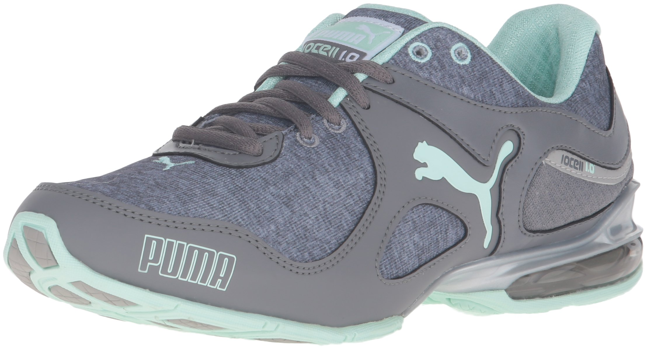 PUMA Women's Cell Riaze Heather Cross-Trainer Shoe, Steel Gray/Drizzle/Bay, 7 M US
