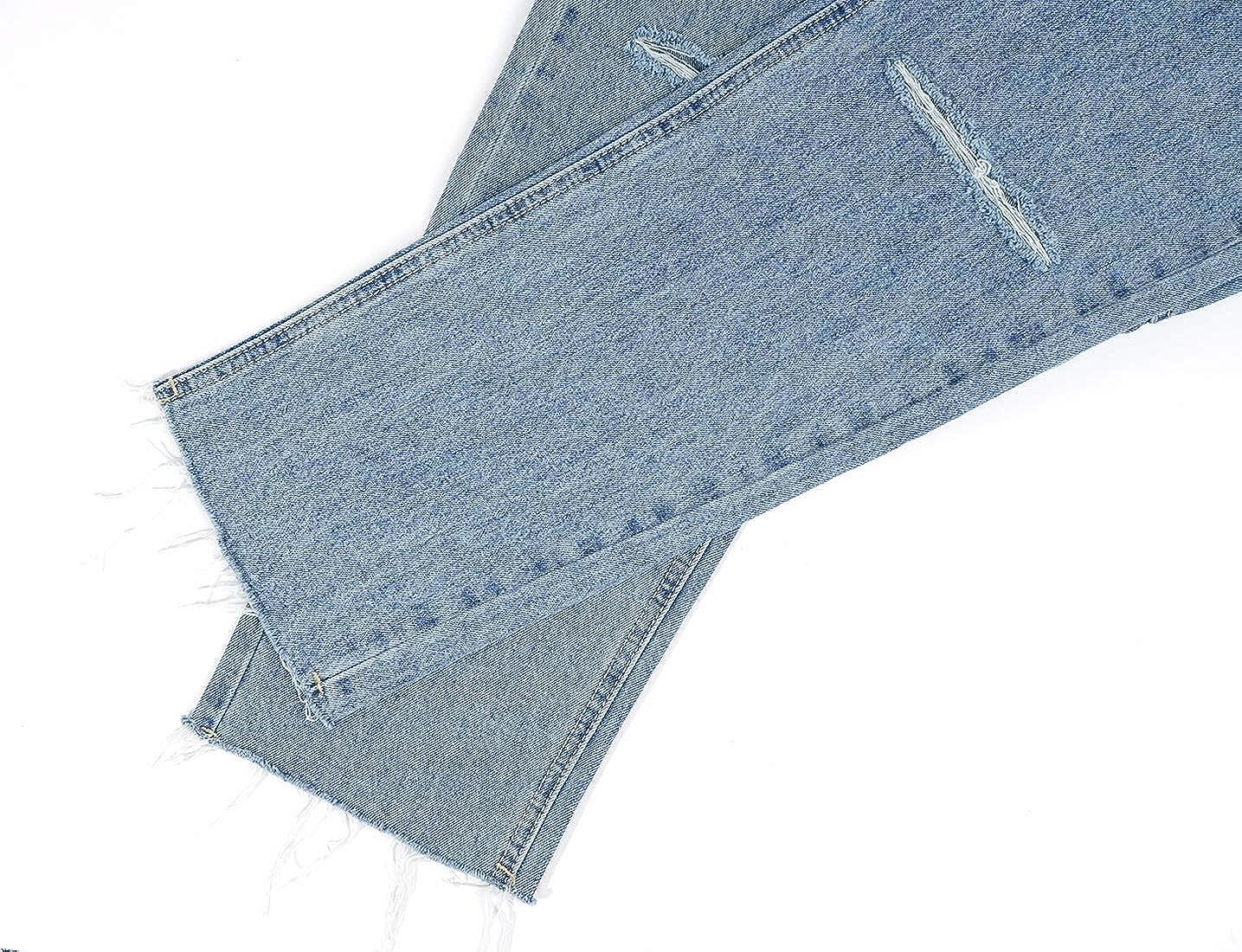 MONYRAY Jeans Donna Vita Alta Strappati Pantaloni Dritti in Denim Mom Jeans con Strappi alle Ginocchia