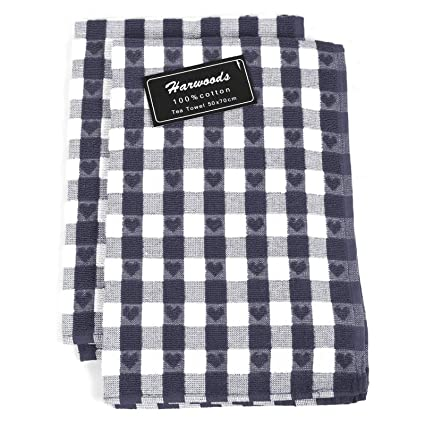 6 PACK 100/% COTTON CHECK PATTERN TEA TOWELS KITCHEN CATERING FREE POSTAGE