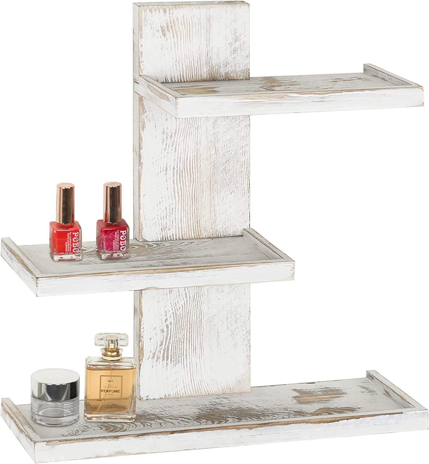 MyGift 3-Tier Vintage Whitewashed Wood Wall Mounted Makeup Organizer Shelves