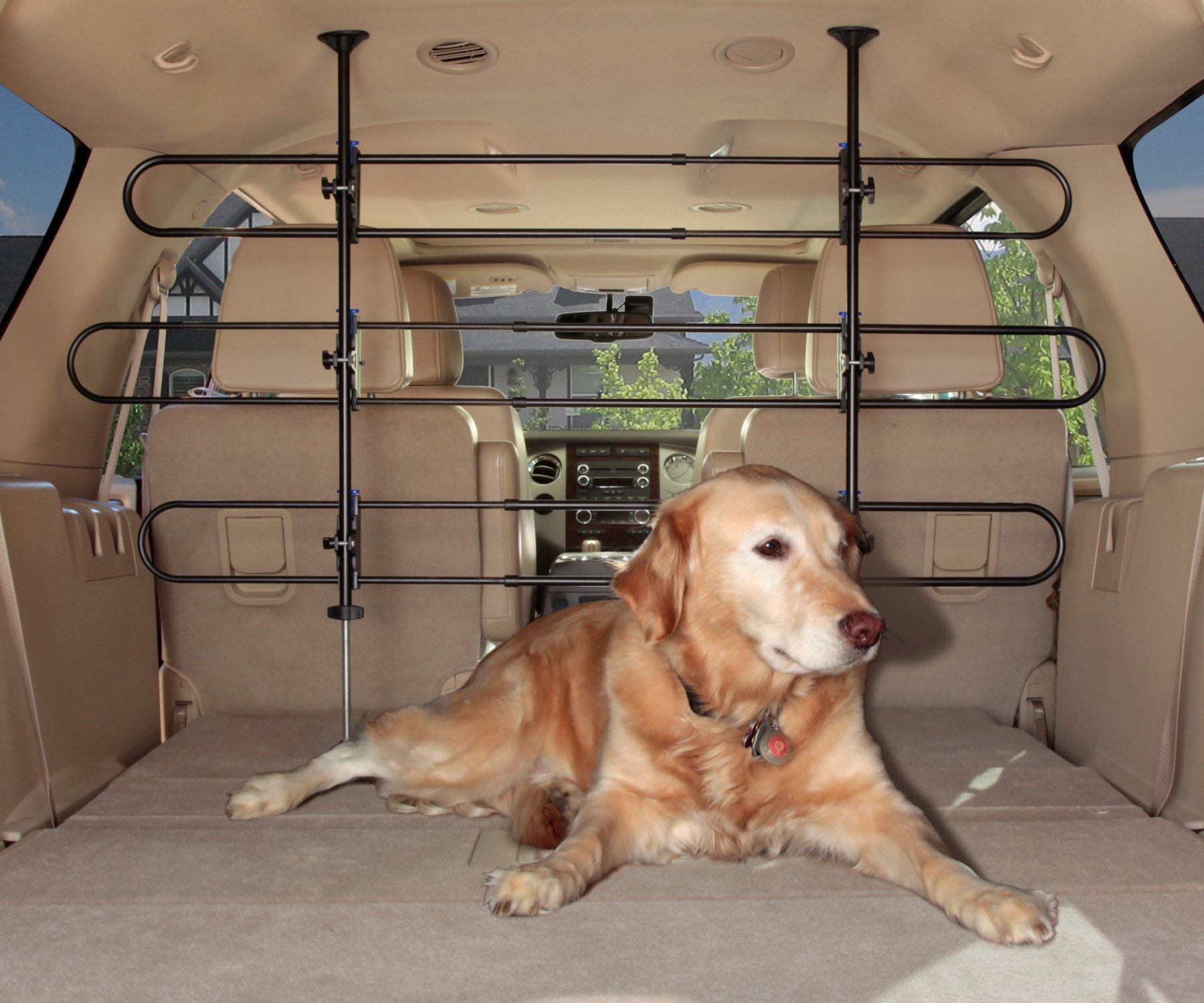 PetSafe Solvit Tubular Car Pet Barrier, Adjustable Vehicle Pet Barrier for Cars and SUVs, Adjusts from 32-49 in. H x 33- 57 in. W by PetSafe
