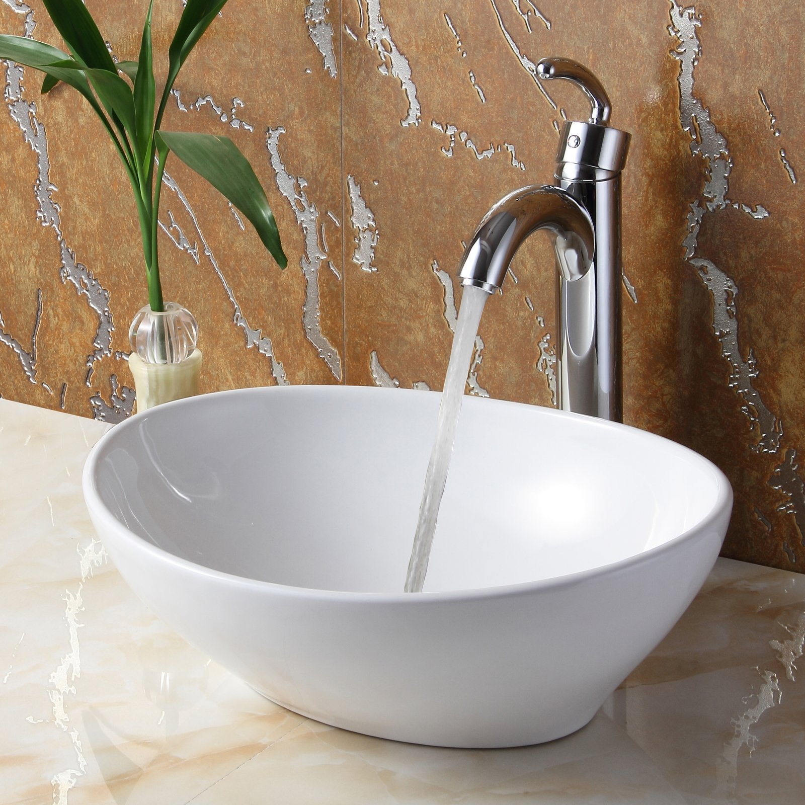 ELITE Bathroom Egg White Ceramic Porcelain Vessel Sink & Chrome Single Lever Faucet by ELITE