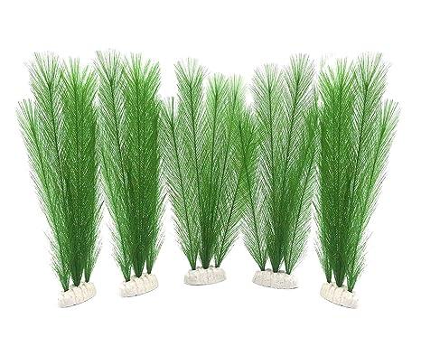 Yatrkm Linda decoración para Acuario pecera Artificial Verde Plantas acuáticas Plantas de plástico acuáticas Tanque de