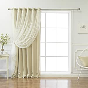 Best Home Fashion Lace Tulle Overlay Blackout Curtains 80