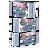 Seckon - Bolsas organizadoras grandes con cierre [3 unidades] de tela transpirable no tejida, edredones, mantas de…